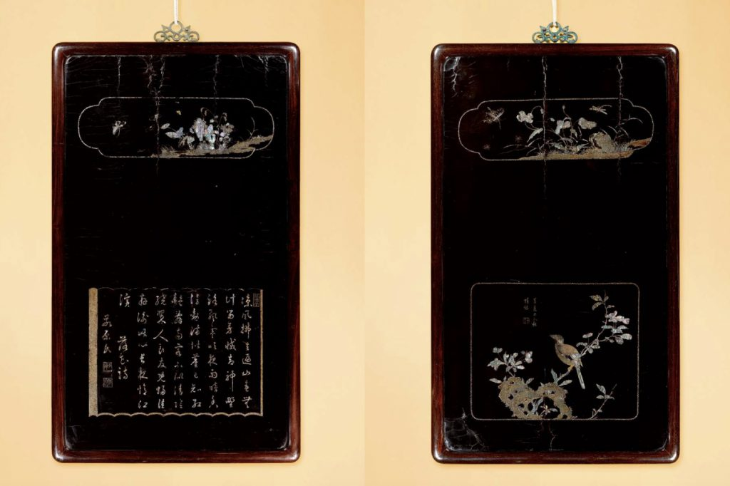 A SET OF FOUR MOTHER-OF-PEARL INLAID PANELS (1)