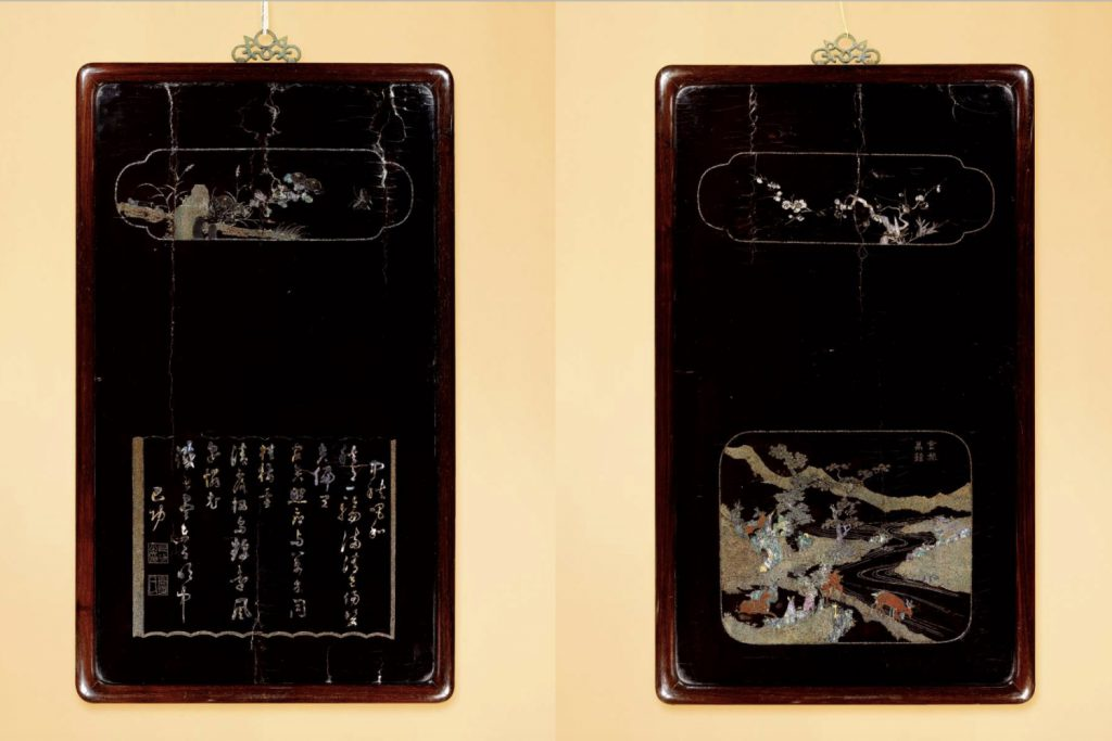 A SET OF FOUR MOTHER-OF-PEARL INLAID PANELS (2)