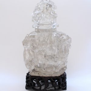 A rock crystal dragon vase and cover