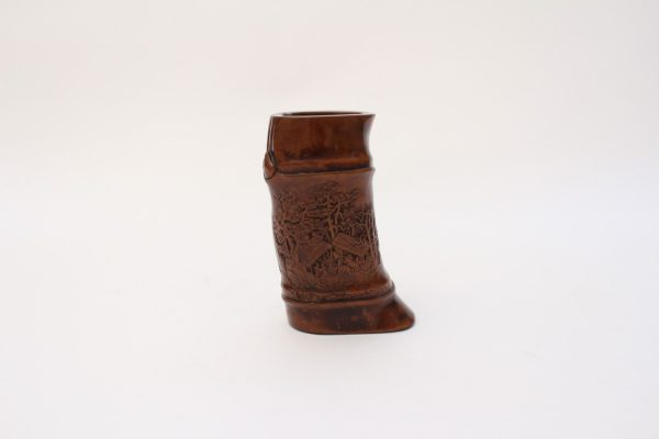 A small carved boxwood brush pot