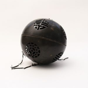 A bronze openwork spherical incense burner
