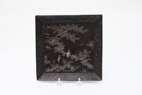 A mother-of-pearl inlaid square lacquer tray
