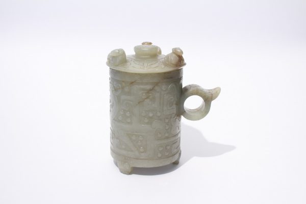 An archaic jade cup and cover