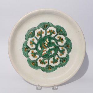 A circular 'Sancai'-glazed tripod offering tray