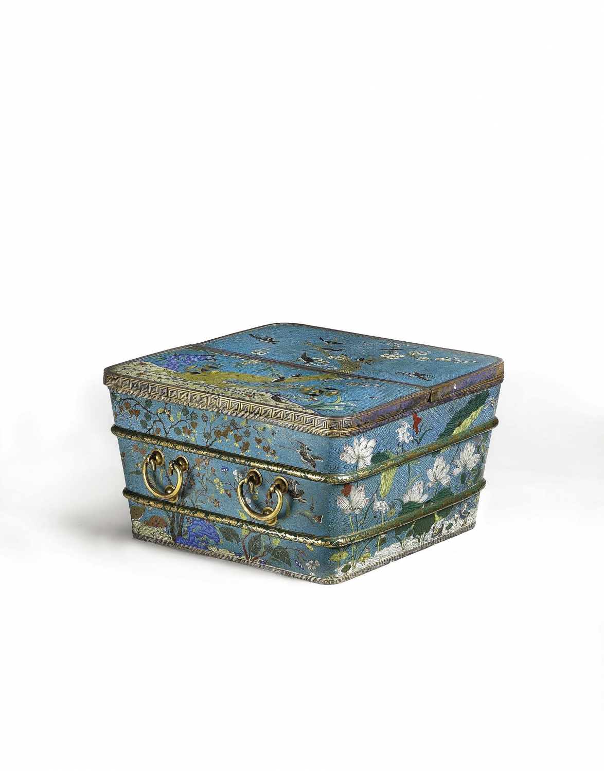A cloisonné enamel square ice chest