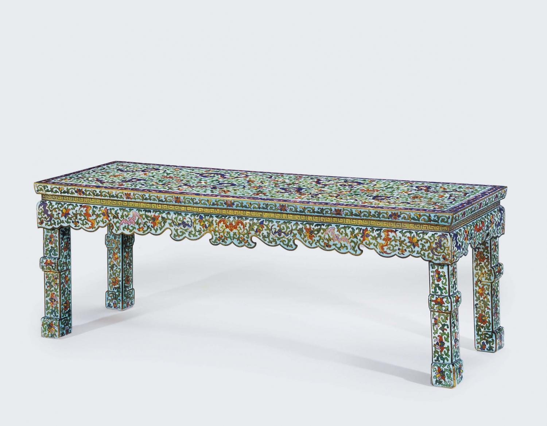Guandong tribute champlevé enamel bench