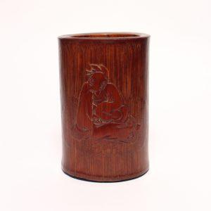A bamboo 'seated sage' brush pot