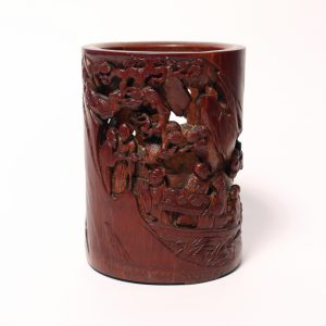 A rare bamboo 'Ode to the Red Cliff' brush pot