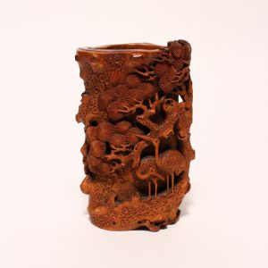 A carved bamboo-root 'Cranes and Pine' brush pot