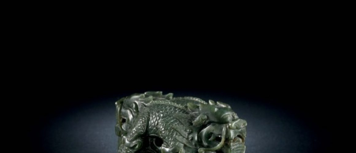 A spinach jade Qianlong dragon seal