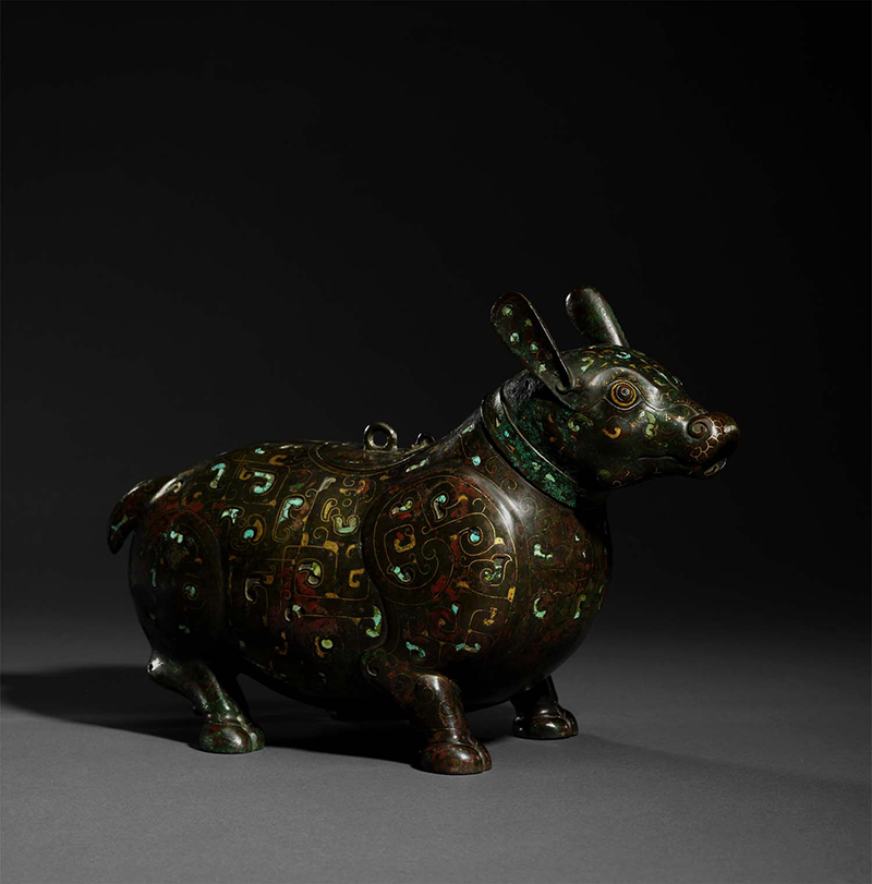 'Warring States' inlaid bronze 'Tapir'