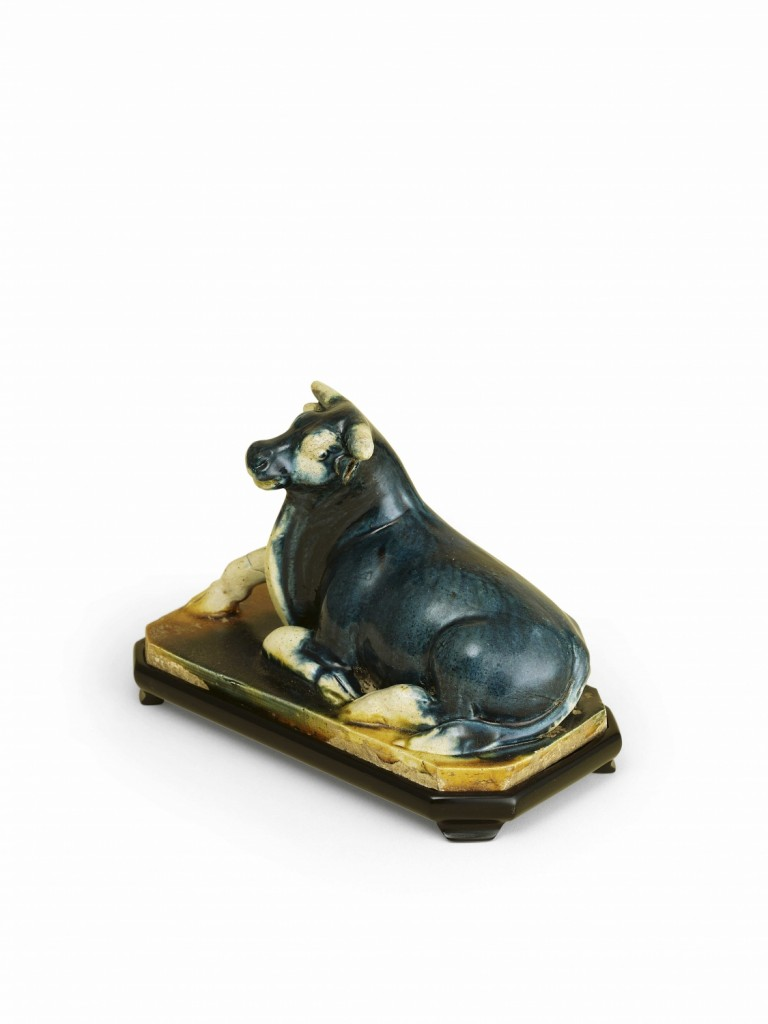 Blue-glazed reclining buffalo - Susan Chen Collection