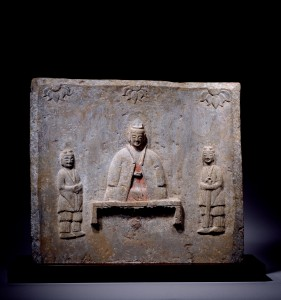 A grey limestone panel (Northern Wei Dynasty, 386-534) - Dimensions: 52x57.3cm
