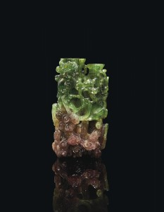 A watermelon tourmaline conjoined 'dragon' vase (18th century) - 12.7 cm high