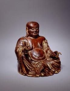 18世纪 漆金布袋和尚木雕 高:30.5 cm