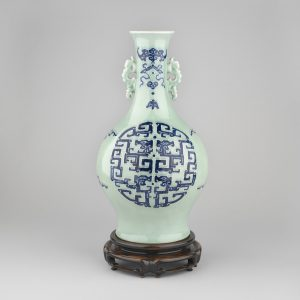 A celadon blue and white slip decorated vase, Qianlong mark and period (Royal Collection)