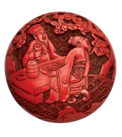 A circular carved cinnabar lacquer box and cover (Qianlong mark and period)