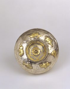 A silver-gilt container