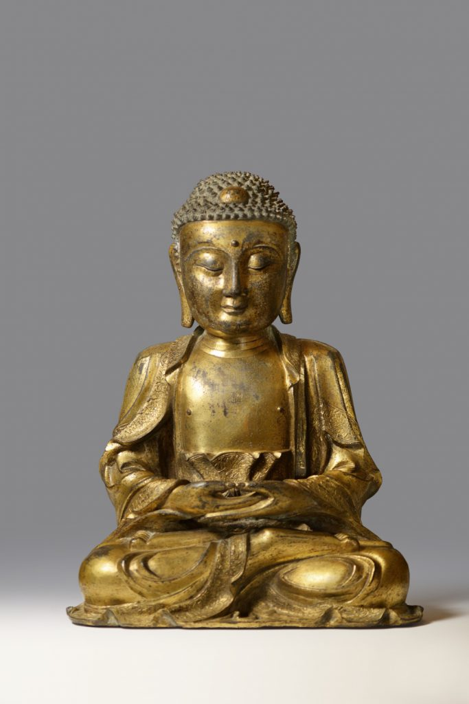 A large gilt bronze Buddha