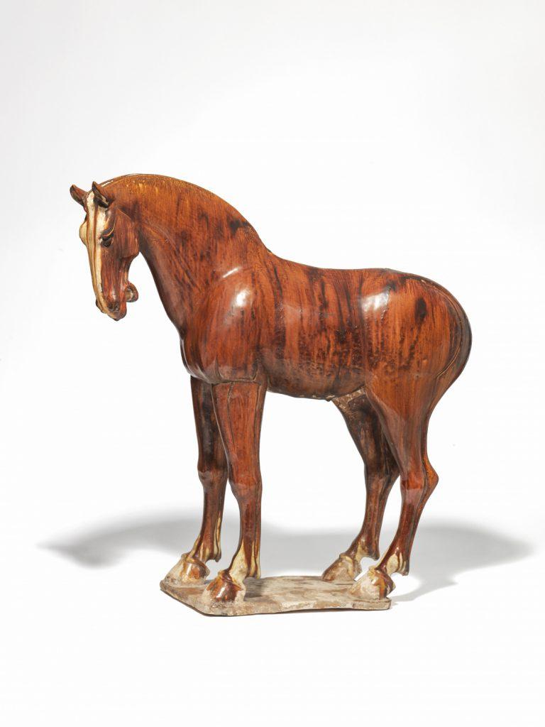 A chestnut-glazed Tang pottery horse