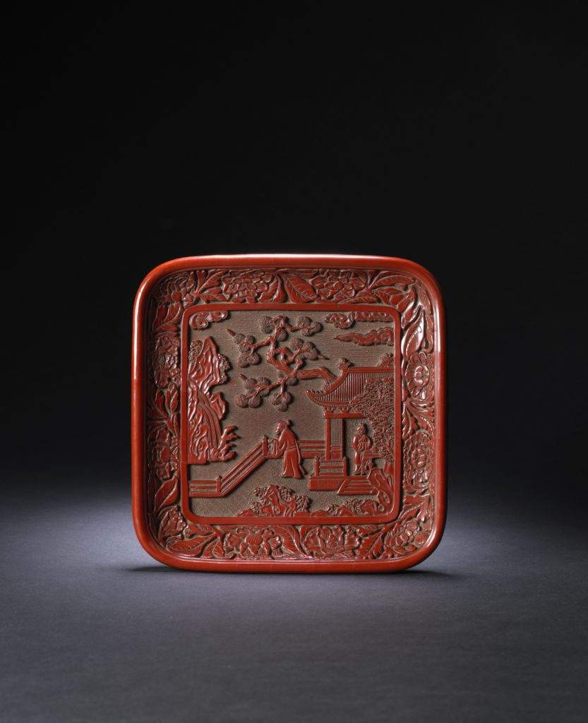 A very rare cinnabar lacquer square dish (Ming dynasty, early 15th century)