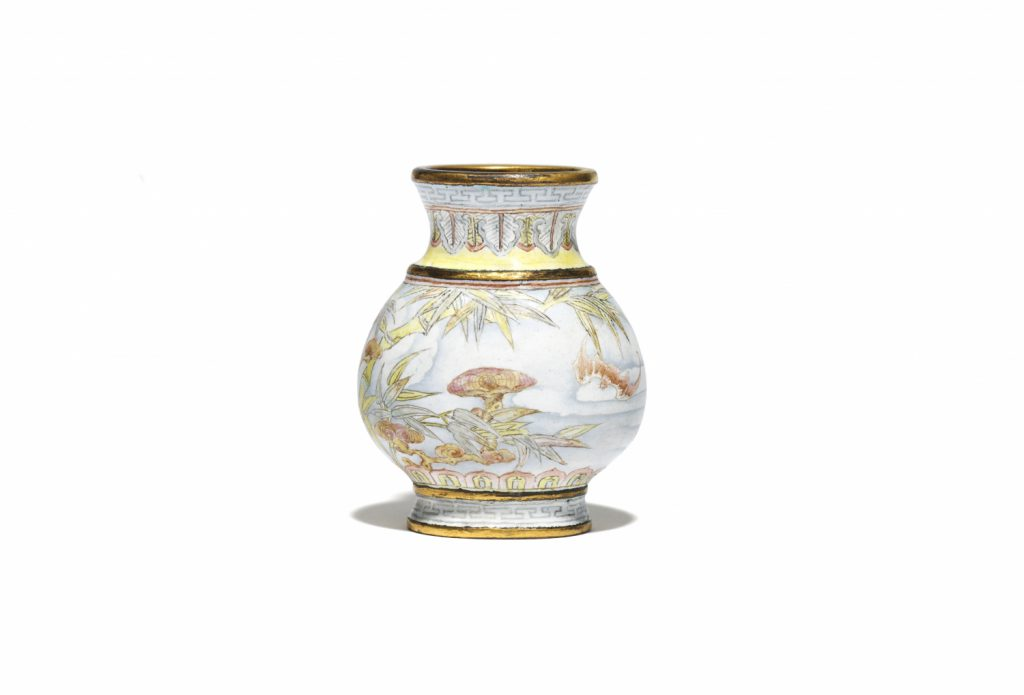 A rare miniature Beijing enamel gilt-copper 'Hu' vase in 'falangcai' enamels (Qianlong mark and period)
